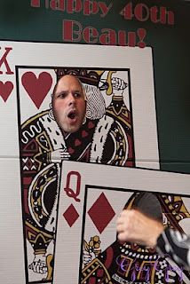 Casino Birthday Party - blow up pics of playing cards, cut a hole out for the head, and you have a fun photo prop. (Courtesy of GreyGrey Designs)
