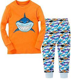 Slenily Little Boys Shark Cotton Sleep Pajama Cartoon Set 2 Piece, Orange, 7Y