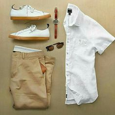 Outfit grid - White shirt & chinos