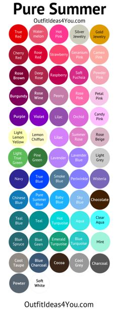 These colors will look best Pure Summer Color Palette (Cool Summer)