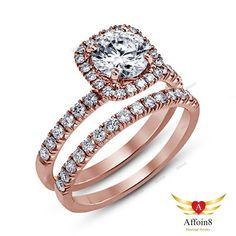 2 CT Round Cut Diamond 925 Silver Bridal Wedding Ring Set 14k Rose Gold Plated #affoin8