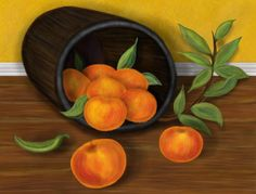 """Peaches are used in Feng Shui for a number of cures. This popular fruit is known as the """"fruit of heaven"""" and is associated with health, abundance, longevity, love, marriage and good luck. This painting contains eight peaches, the number eight symbolizing infinity and abundance. Whatever ails you, the power of the peach is a wonderful cure to harness."""