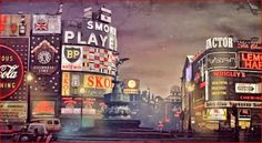 50 year old images shows what Piccadilly Circus looked like 1961 complete with neon Coca cola sign and plenty of cigarette ads. Btw Fullscream is the name of the company who created the images - they have put their logo in there too. London Landmarks, Famous Landmarks, London Life, London Street, Computer Generated Imagery, Creative Design Agency, Piccadilly Circus, Guinness World, London