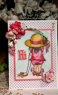 """hi"" card by Christina Griffiths"