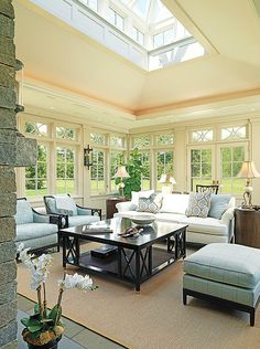 gorgeous sun room!  disguise patio doors with taped pattern