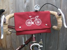 Bike Bag Red with White Embroidered Bike Water by LolaJeans, $39.00