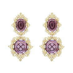 """Paul Morelli 18k Gold & Amethyst """"Raja"""" Drop Earrings """"Raja"""" amethyst double crest drop earrings in 18k yellow gold, accented by round brilliant cut diamonds. Four amethysts weighing approximately 17.00 total carats. Handcrafted in Philadelphia. Designed by Paul Morelli."""
