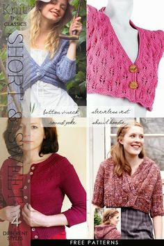 Cropped cardigans and pullovers, confortable and elegant in a variety of free patterns by DiaryofaCreativeFanatic