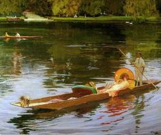 """Boating on the Thames""(on a punt), c.1890,   by Sir John Lavery, R.A. The Athenaeum"