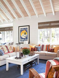 Using a palette of primary colors helps this cottage living room feel fresh and youthful. Tour the rest of this pretty cottage-style home: http://www.bhg.com/decorating/decorating-style/cottage/cottage-for-entertaining/?socsrc=bhgpin041113primarycolorscheme=4