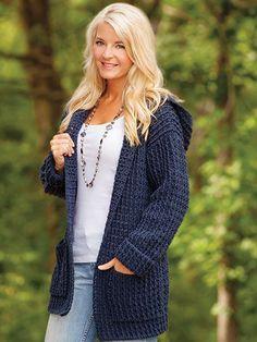 Crochet Patterns - ANNIE'S SIGNATURE DESIGNS: Crochet Hoodie Cardigan Crochet Pattern