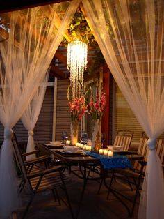 Beautiful Outdoor Area On A $100 Budget! This would be such a neat idea for a husband to surprise his wife with a candle light dinner on the porch