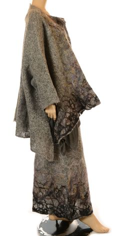 Love the style of this jacket: Soft Grey & Felted Pattern Handmade Wool - Studio Art