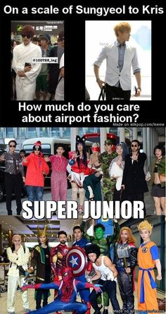 Q: On a scale of Sungyeol to Kris, how much do you care about airport fashion?  A: SUPER JUNIOR