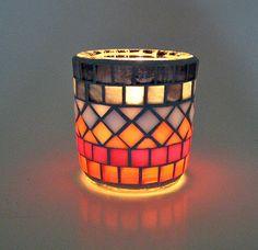 Vidrio mosaico tealight vela titular por threesisterscandles