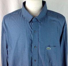 0ff6eb348 Lacoste Dress Shirt 2XTL Mens Long Sleeve 100% Cotton Shepherds Check Blue  Green