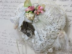 Vintage Lace Heart, The Love Letter, Heartfelt Christmas Gift, Lace Ornament, Romantic Shabby Lace Christmas Gift, Roses, Tulle, Altered Art by TheJoyfulHome on Etsy