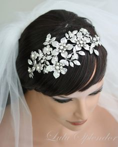 Large Bridal Headband Wedding Hair Accessories by LuluSplendor, $230.00
