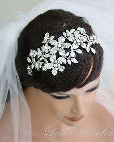 Large Bridal Headband Wedding Hair Accessories by LuluSplendor, $230.00