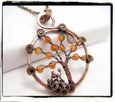 DIY Antique Copper Orange Carnelian Gemstone Tree of Life Pendant