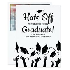 Business School Graduation Photo Hats Off Party Card - graduation gifts giftideas idea party celebration