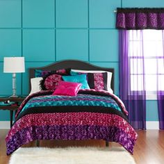 Colors for girls' room walls- they have voted and agreed (at least for today) on pink purple and blue!