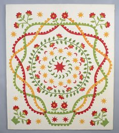 Pot of Flowers Applique Quilt Top: Circa 1870; Pennsylvania