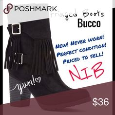 Lowest $...NWOT/BUCCO Fringed Boots. SZ 7.5 I found this pic online because I took over 20 pics and none of them half way decent. These are ADORABLE! I bought for my daughter and they didn't fit. Her foot is Beyond Narrow. She is definitely a quad A!  New & Never Worn. Heel is 3.25 inches. Man Made Suede upper. Priced to sell! Had too long to return. Price Firm unless bundled. Bucco Shoes Ankle Boots & Booties