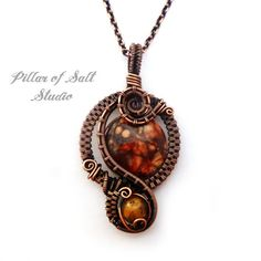 Wire Wrapped pendant / copper jewelry / wire by PillarOfSaltStudio