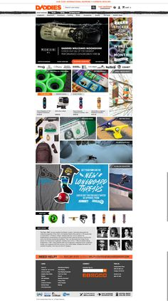 http://www.daddiesboardshop.com/ Navigation suits the brand but isn't my favourite styling. Grid style home page is particularly nice.