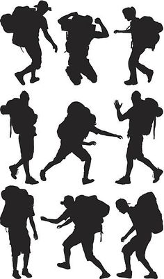 Siluetas de varias hikers Silhouette Png, Movies, Movie Posters, Painting, Character, Wall Decor, Craft, Ideas, High Resolution Picture