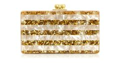 Mother-of-pearl & Gold Acylic Clutch. Finished in pearlized acrylic and lacquered gold confetti. Edie Parker's handcrafted clutches come with a built-in mirror so you can touch up your makeup on the go. Gold Confetti, Oui Oui, Gold Hands, Vintage Purses, Beautiful Bags, Evening Bags, Purses And Bags, Hair Accessories, Party Accessories