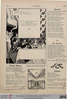 Jugend: Münchner illustrierte Wochenschrift für Kunst und Leben (1.1896, Band 1 (Nr. 1-26)) // Menu design 'A feast fit for a king' by Robert Engels. Published 1896 in 'Jugend' magazine.