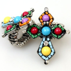 Multicolor Seed Bead Rhinestone Cross Western Jewelry Ring