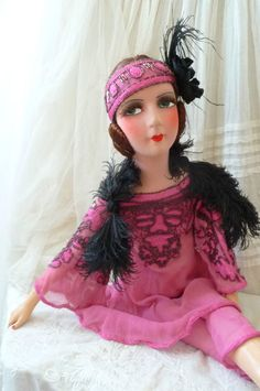 From FRANCE 1920's All Original French Silk boudoir doll - one-of-a-kind   eBay