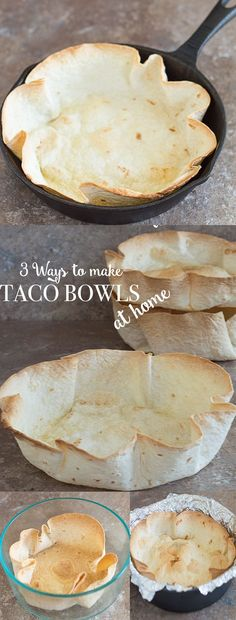 It is so easy to make hard taco salad bowls at home. There 3 quick and healthier ways to make them in your oven. It only takes 35 minutes to make. | Homemade, Mexican Food, DIY, Taco Bowls, #tacotuesday #tacos #vegan #vegetarian How to make taco bowls at home