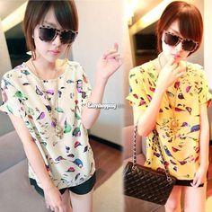 Summer Women'S Lady Short Sleeve Bird Printed Chiffon T-Shirt Top Blouse Tee Esp