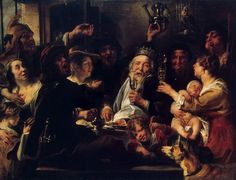 Jacob Jordaens - The Bean King [c.1638] | Learned in the traditions and legends of the ordinary people, Jacob Jordaens (Antwerp, May 19, 1593 - October 18, 1678) here depicted the festival of the Three Magi or Three Kings, which was celebrated in Flanders every year on January 6. According to old Netherlandish tradition, on this day a large pie was served at table with a single bean hidden somewhere in it. He who found the bean in his slice of pie was declared to be th