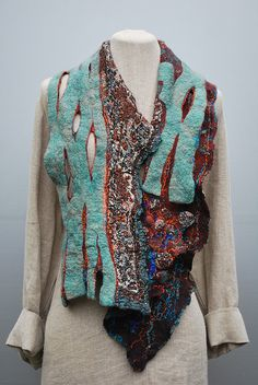 Looks like knit and prefelt layers Felted scarf | Flickr - Photo Sharing!