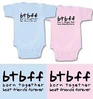 Born Together Best Friends Forever Twin Onesies