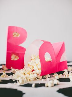 DIY Monogram Popcorn Bags - perfect for movie night!
