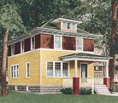 Old rendering of original Foursquare with PORCH