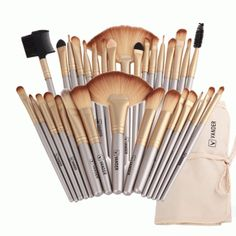 Vander Professional Soft Champagne Makeup Brushes Set Beauty Cosmetic Real Make Up Tools Eyeshadow Blush Blending w/Bag – OfirBox Eyeliner Brush, Lip Brush, Makeup Brush Set, Eyebrow Brush, Eyeshadow Brushes, Foundation Brush, No Foundation Makeup, Powder Foundation, Silber Make-up