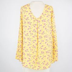 V-neck Floral Print Long Sleeve Blouse - Yellow - Large
