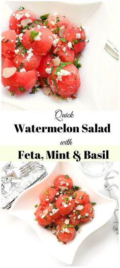 Quick Watermelon Salad with Feta Mint and Basil : #watermelon #salad #feta #grill