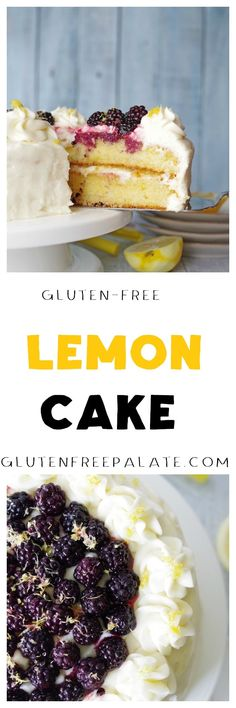 Easy gluten-free lemon cake from scratch! A layered cake filled with lemon curd and covered in a smooth, creamy lemon buttercream frosting, this Gluten-Free Lemon Cake recipe will be the perfect addition to any holiday celebration. Gluten Free Lemon Cake, Gluten Free Sweets, Gluten Free Cakes, Gluten Free Baking, Frosting Recipes, Cake Recipes, Dessert Recipes, Brownies, Cobbler