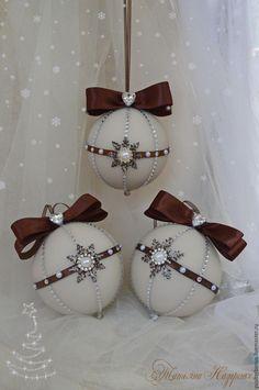 """Купить Бесплатная доставка! Набор новогодних шаров """"Крем брюле"""" - бежевый, коричневый, шары на елку"""