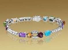 BVLGARI Color Collection Bracelet In 18kt White Gold With Coloured Gemstones And Pavé Diamonds