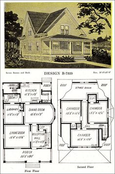 1918 Late Queen Anne Free Classic House – Modern American Homes – C. L. Bowes Co. of Chicago. Pretty, practical small house from the very tail end of the QA period with Colonial details. The cross-gabling was more common earlier in the decade.