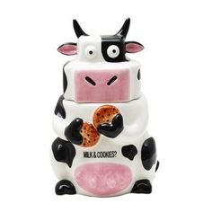 Ceramic Cow Cookie Jar Black / White, 10 inches H by Desktopstatue. $34.99. Cookie jar has a lid to keep all of your cookies and snacks fresh.. Design is stylish and innovative. Satisfaction Ensured.. Perfect for your favorite snack.. Adorable ceramic cookie jar holds tons of treats, so they're always fresh and ready to enjoy.. Made of ceramic with a glossy surface and easy to clean.. This incredibly cute ceramic cookie jar really brightens up a kitchen. Hand painted and...